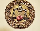 Vintage Signed ART Libra Pink Topaz Brooch Pin