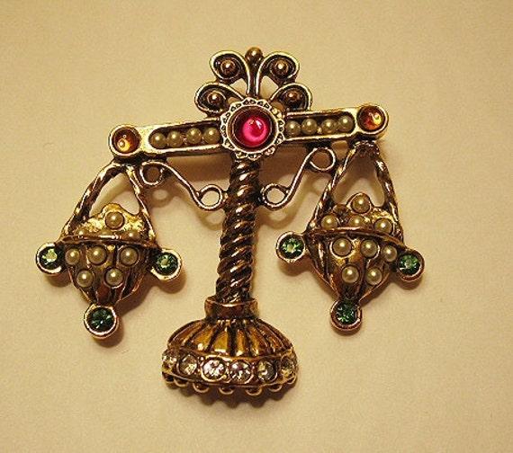 Vintage Jeweled Rhinestone and Pearls Scales Libra Brooch