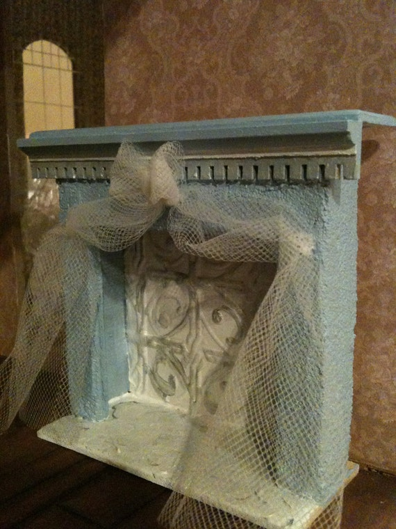 Reserved for Debi~ Blue Fireplace with Bow