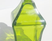 Vintage Green Glass Covered Dish