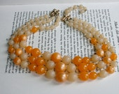 Sweet Orange Creamsicle Color Necklace - Three Tiered Orange and Cream