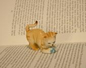 Cute Playful Orange Tabby Cat Figurine - Orange Kitten and Blue Ball