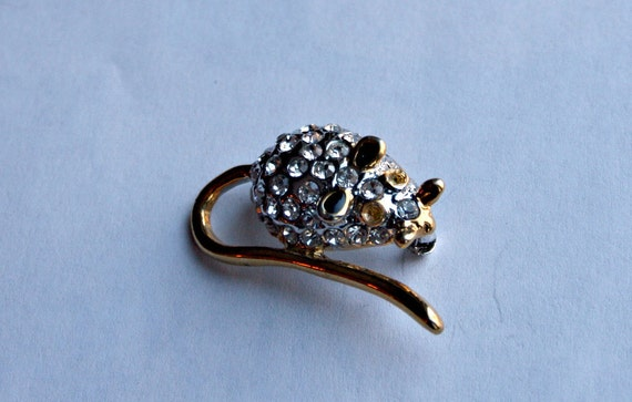 Sweet and Shiny Mouse - Rhinestone and Gold Tone