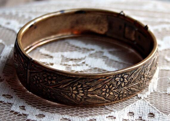 Antiqued Brass Cuff Bracelet - Intricate Flower Pattern