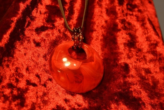 Beautiful Large Red Pendant - Leather Cord - Statement Piece