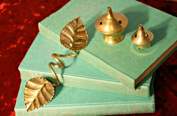 Lot of Brass Bronze Incense Holders and Leaves Napkin Holder