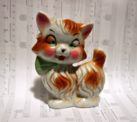 Unique and Kitschy Little Tabby Cat - Made in Japan - Orange and White Kitten