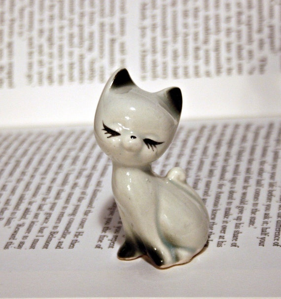 Sweet White and Black Kitten Statue - Long Eyelashes and Cute Face
