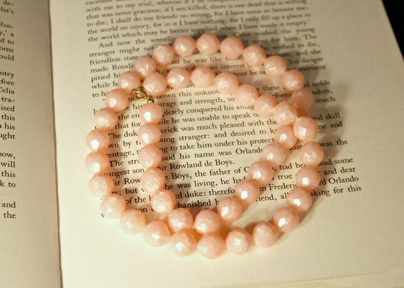 Bubblegum Pink Beaded Bauble Necklace - Vintage Granny Jewelry - Long Pale Pink Costume Jewelry