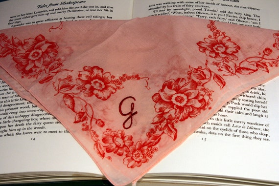 Coral Hankie - Letter G- Initial G Salmon Pink Handkerchief