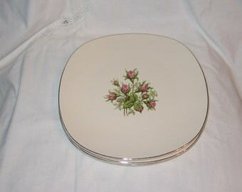 Vintage Edwin Knowles Moss Rose Plates - set of 4