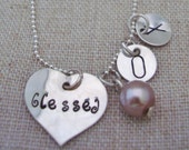 Hug and Kiss Silver Heart Charm Necklace