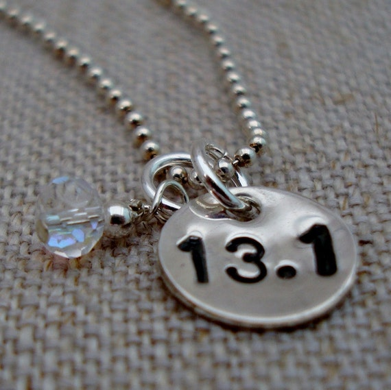 half marathon running charm necklace by lovebranded on etsy