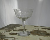 Needle Etched Champagne/Sherbert Glasses  Thistle Pattern - Set of Four