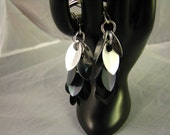 Scale earrings in silver, iridescent gunmetal, and black