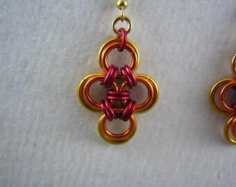 Fire Japanese Cross Earrings