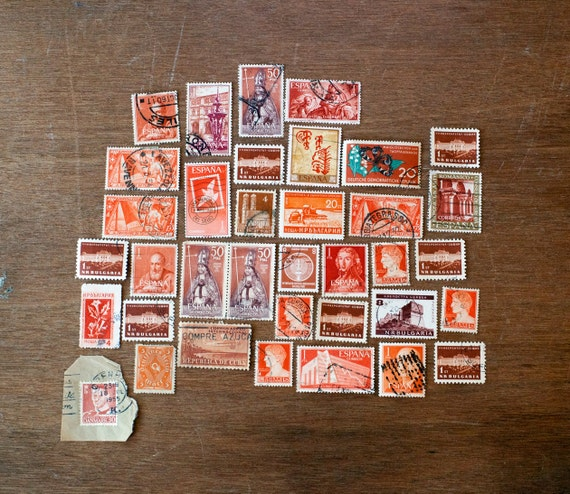 Collection of Red Postal Stamps
