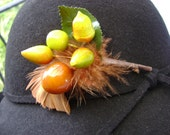 Vintage Hat Spray..Wax Nuts, Fruit and Feathers...