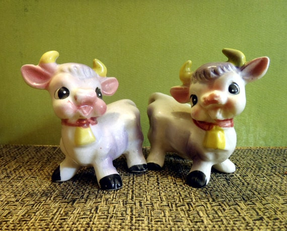 Antique Purple Cow Salt and Pepper Shakers