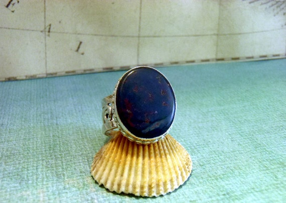 Rare Vintage Bloodstone and Sterling Silver Ring