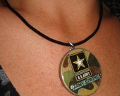 US Army Strong Camouflage Poker Chip Pendant Necklace