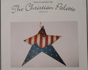 The Christian Palette Americana Star Painting Pattern Packet Patriotic Prim Country Red White Blue Decor