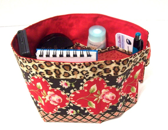 Purse Organizer Red Rose and Leopard Button Loop Closure 7 Pockets