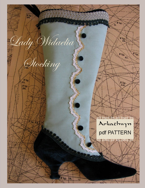 Victorian Christmas Stocking PDF Pattern...Lady Widaelia
