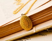 Small Gold Oval Locket Vintage Inspired Necklace