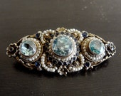 Antique Victorian Austro Hungarian Silver Brooch Blue topaz & pearls c1890 boxed