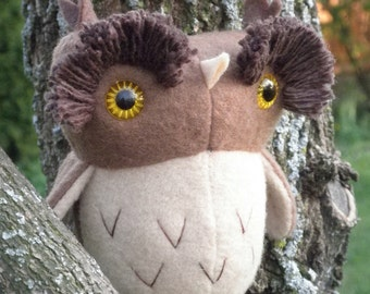 Hoot the Owl, soft sculpture brown owl