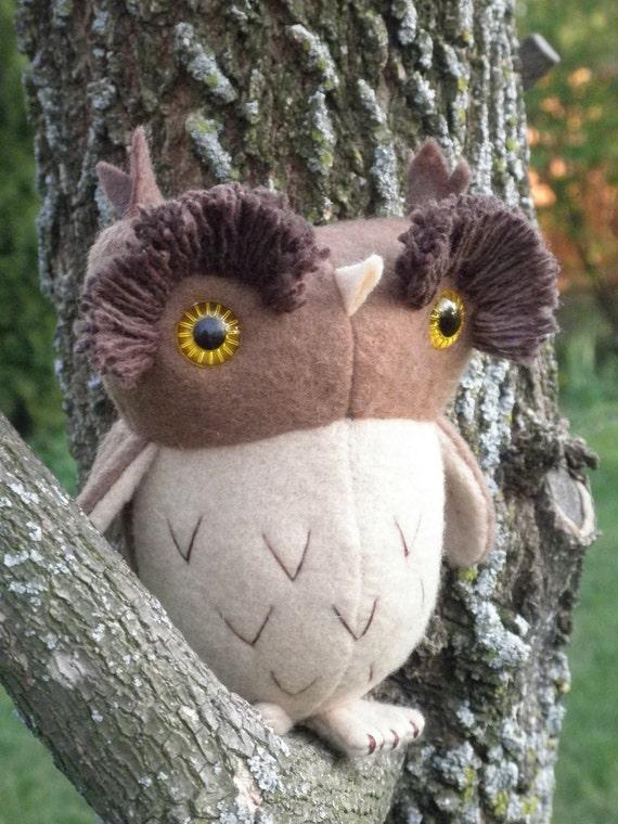 Hoot the Owl, soft sculpture brown owl