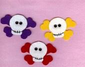 Felt skull and crossbone appliques handmade set of 3
