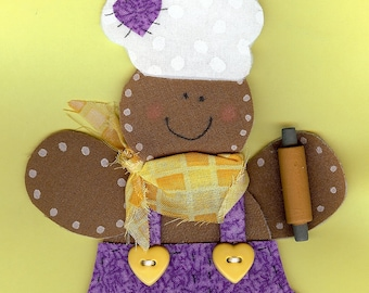 Personalized gingerbread boy baker ornament fabric appliqued