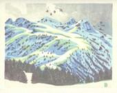 Montagne d'Aston - Ariège Pyrénées, estampe sur bois en couleurs imprimée sur papier japon