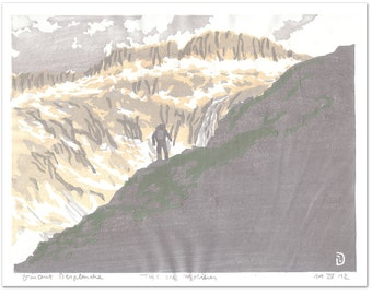 Tuc de Molieres (Pyrenees mountains Spain) hand pulled moku hanga woodblock print