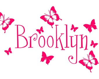 custom wall decal Personalized Butterflies Name Nursery Vinyl Wall Decal Sticker Removable girls wall decal bedroom decal