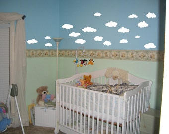 18 White Cloud Wall Decals for  Nursery  Removable bedroom decal