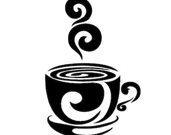 Swirly Coffee Cup Decal........Wall Art Vinyl Decal sticker