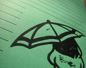 Kelly green letter writing set stationary umbrella rain cloud