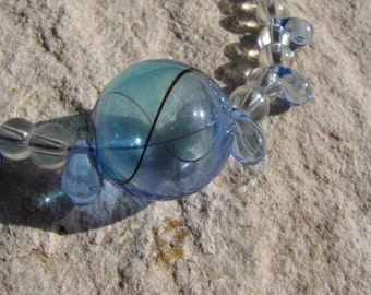 Bubble Bauble Necklace Pendant on Clear Glass and Blue Rain Tear Drop