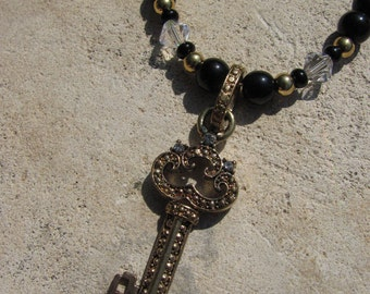 Key Necklace Black, Gold, and Crystal Beaded