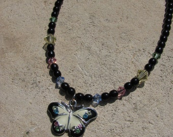 Butterfly Necklace Black and White Crystal Wings Enamel Pendant on Black Czech Glass and Crystal