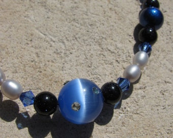 Star Galaxy Necklace with Twinkling Blue Gold Stone, Freshwater Gray Pearls, Shimmery Cat Eye Glass and Swarovski Crystal Beads
