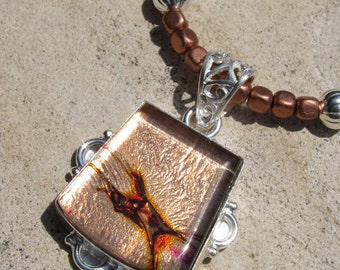 Dichroic Glass Necklace Desert Fire