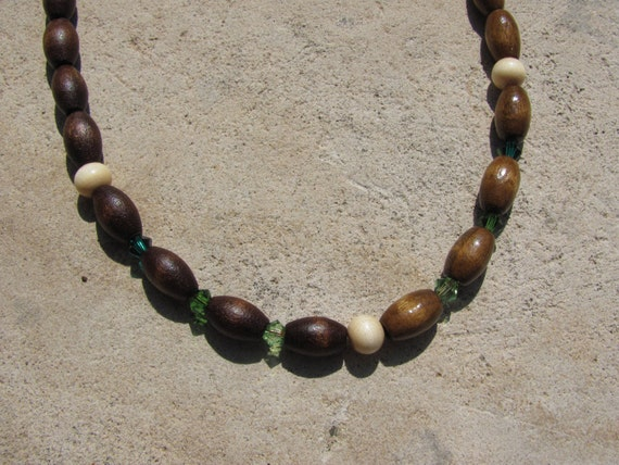 Wood Beaded Necklace Earthy Tribal Split Tone Stained Wood with Green Crystals