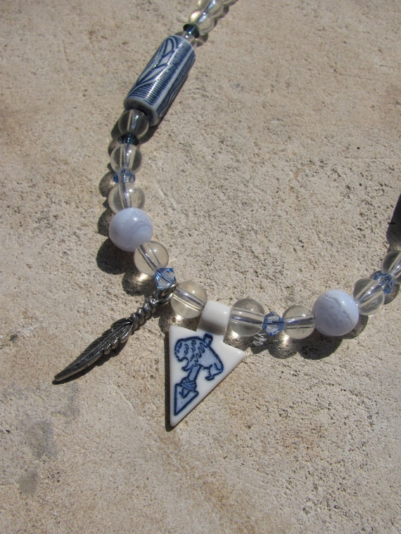 Spirit Buffalo Necklace with Feather Pendant on Glass, Crystal, and Blue Lace Agate Asymmetrical Tatanka