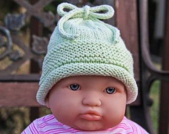 Hand Knit, Pistachio,Small Newborn, Tied, Hat,Gift,Photo Prop,Boy,Girl,Shower,Infants