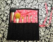 Black and Hot Pink Polkadot Make-up Brush Roll