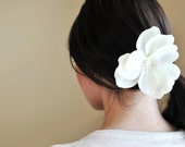 White Flower Hair Clip or Headband- For Baby Girl, Toddler, Girl, Teenager or Women- Bridal